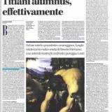 Alias - Il Manifesto 01032020 | Tiziano e Caravaggio in Peterzano